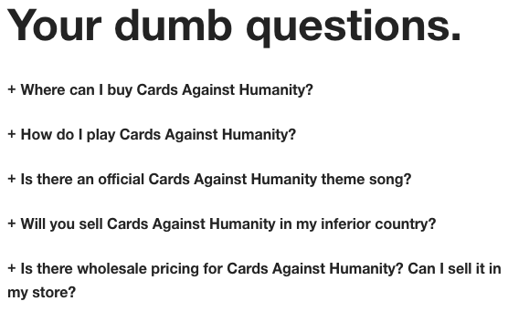 Cards Against Humanity FAQs